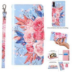 Rose Flower 3D Painted Leather Wallet Case for Samsung Galaxy A20
