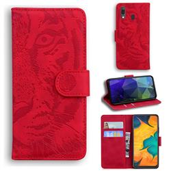 Intricate Embossing Tiger Face Leather Wallet Case for Samsung Galaxy A20 - Red