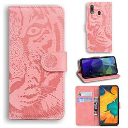 Intricate Embossing Tiger Face Leather Wallet Case for Samsung Galaxy A20 - Pink