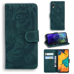 Intricate Embossing Tiger Face Leather Wallet Case for Samsung Galaxy A20 - Green