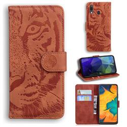 Intricate Embossing Tiger Face Leather Wallet Case for Samsung Galaxy A20 - Brown