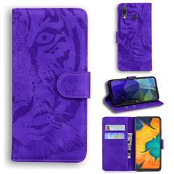Intricate Embossing Tiger Face Leather Wallet Case for Samsung Galaxy A20 - Purple