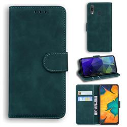 Retro Classic Skin Feel Leather Wallet Phone Case for Samsung Galaxy A20 - Green