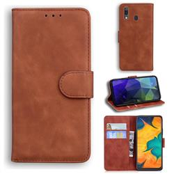 Retro Classic Skin Feel Leather Wallet Phone Case for Samsung Galaxy A20 - Brown