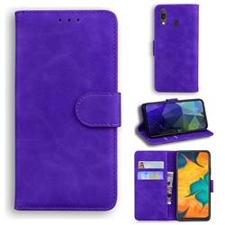 Retro Classic Skin Feel Leather Wallet Phone Case for Samsung Galaxy A20 - Purple