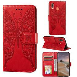 Intricate Embossing Rose Flower Butterfly Leather Wallet Case for Samsung Galaxy A20 - Red