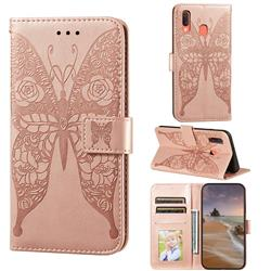 Intricate Embossing Rose Flower Butterfly Leather Wallet Case for Samsung Galaxy A20 - Rose Gold
