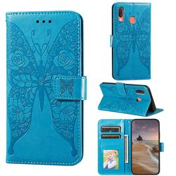 Intricate Embossing Rose Flower Butterfly Leather Wallet Case for Samsung Galaxy A20 - Blue