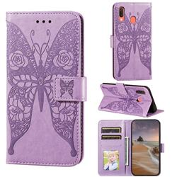 Intricate Embossing Rose Flower Butterfly Leather Wallet Case for Samsung Galaxy A20 - Purple