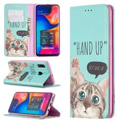 Hand Up Cat Slim Magnetic Attraction Wallet Flip Cover for Samsung Galaxy A20