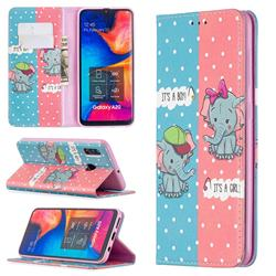 Elephant Boy and Girl Slim Magnetic Attraction Wallet Flip Cover for Samsung Galaxy A20