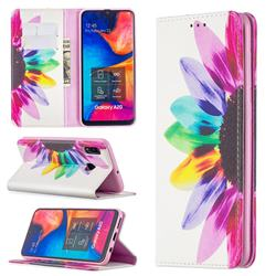 Sun Flower Slim Magnetic Attraction Wallet Flip Cover for Samsung Galaxy A20