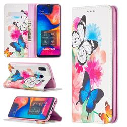 Flying Butterflies Slim Magnetic Attraction Wallet Flip Cover for Samsung Galaxy A20