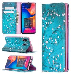 Plum Blossom Slim Magnetic Attraction Wallet Flip Cover for Samsung Galaxy A20