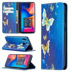 Gold Butterfly Slim Magnetic Attraction Wallet Flip Cover for Samsung Galaxy A20