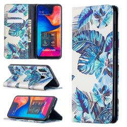 Blue Leaf Slim Magnetic Attraction Wallet Flip Cover for Samsung Galaxy A20