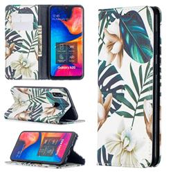 Flower Leaf Slim Magnetic Attraction Wallet Flip Cover for Samsung Galaxy A20