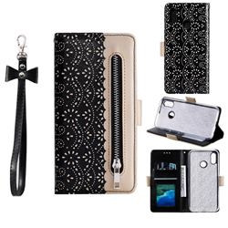 Luxury Lace Zipper Stitching Leather Phone Wallet Case for Samsung Galaxy A20 - Black