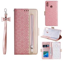 Luxury Lace Zipper Stitching Leather Phone Wallet Case for Samsung Galaxy A20 - Pink