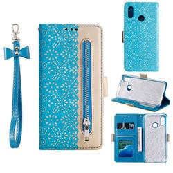 Luxury Lace Zipper Stitching Leather Phone Wallet Case for Samsung Galaxy A20 - Blue