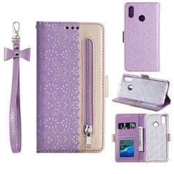 Luxury Lace Zipper Stitching Leather Phone Wallet Case for Samsung Galaxy A20 - Purple