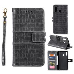 Luxury Crocodile Magnetic Leather Wallet Phone Case for Samsung Galaxy A20 - Gray