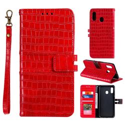 Luxury Crocodile Magnetic Leather Wallet Phone Case for Samsung Galaxy A20 - Red