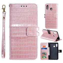 Luxury Crocodile Magnetic Leather Wallet Phone Case for Samsung Galaxy A20 - Rose Gold