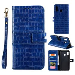 Luxury Crocodile Magnetic Leather Wallet Phone Case for Samsung Galaxy A20 - Blue