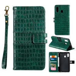 Luxury Crocodile Magnetic Leather Wallet Phone Case for Samsung Galaxy A20 - Green
