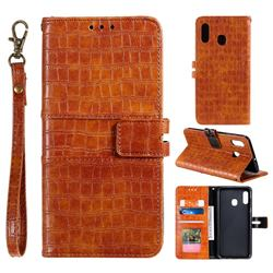 Luxury Crocodile Magnetic Leather Wallet Phone Case for Samsung Galaxy A20 - Brown