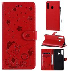 Embossing Bee and Cat Leather Wallet Case for Samsung Galaxy A20 - Red