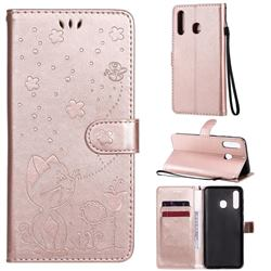 Embossing Bee and Cat Leather Wallet Case for Samsung Galaxy A20 - Rose Gold