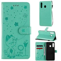 Embossing Bee and Cat Leather Wallet Case for Samsung Galaxy A20 - Green