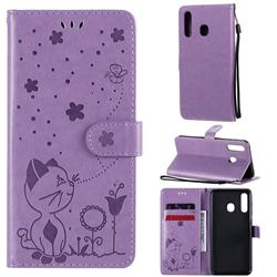 Embossing Bee and Cat Leather Wallet Case for Samsung Galaxy A20 - Purple