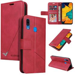 GQ.UTROBE Right Angle Silver Pendant Leather Wallet Phone Case for Samsung Galaxy A20 - Red