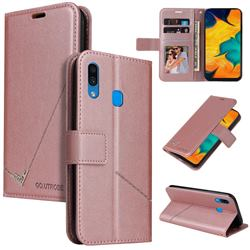 GQ.UTROBE Right Angle Silver Pendant Leather Wallet Phone Case for Samsung Galaxy A20 - Rose Gold