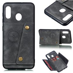 Retro Multifunction Card Slots Stand Leather Coated Phone Back Cover for Samsung Galaxy A20 - Gray