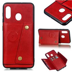 Retro Multifunction Card Slots Stand Leather Coated Phone Back Cover for Samsung Galaxy A20 - Red