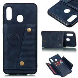 Retro Multifunction Card Slots Stand Leather Coated Phone Back Cover for Samsung Galaxy A20 - Blue