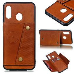 Retro Multifunction Card Slots Stand Leather Coated Phone Back Cover for Samsung Galaxy A20 - Brown