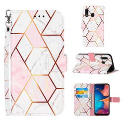 Pink White Stitching Color Marble Leather Wallet Case for Samsung Galaxy A20