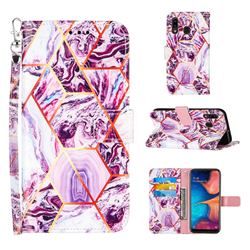 Dream Purple Stitching Color Marble Leather Wallet Case for Samsung Galaxy A20