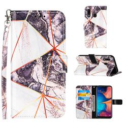 Black and White Stitching Color Marble Leather Wallet Case for Samsung Galaxy A20
