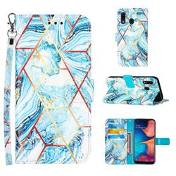 Lake Blue Stitching Color Marble Leather Wallet Case for Samsung Galaxy A20