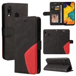 Luxury Two-color Stitching Leather Wallet Case Cover for Samsung Galaxy A20 - Black