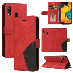 Luxury Two-color Stitching Leather Wallet Case Cover for Samsung Galaxy A20 - Red