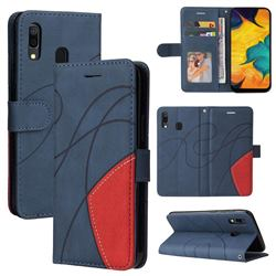 Luxury Two-color Stitching Leather Wallet Case Cover for Samsung Galaxy A20 - Blue