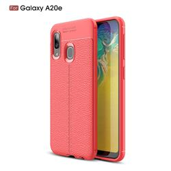 Luxury Auto Focus Litchi Texture Silicone TPU Back Cover for Samsung Galaxy A20e - Red