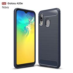 Luxury Carbon Fiber Brushed Wire Drawing Silicone TPU Back Cover for Samsung Galaxy A20e - Navy